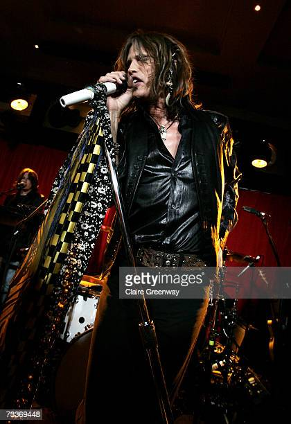 Aerosmith frontman Steven Tyler performs on stage at an exclusive gig to promote 'Hyde Park Calling' at The Hard Rock Cafe on February 19 2007 in...