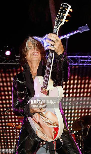 Aerosmith guitarist Joe Perry performs during a concert at the Bare Pool Lounge at The Mirage Hotel Casino to celebrate the resort's 20th anniversary...