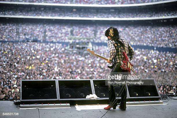 Aerosmith guitarist Joe Perry performs onstage at The Meadowlands on August 06 1978 in East Rutherford New Jersey