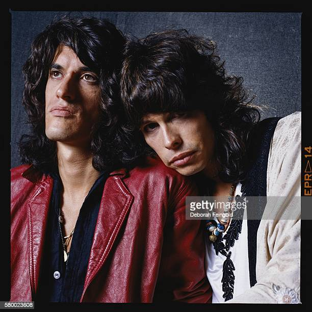 Aerosmith guitarist Joe Perry poses with singer Steven Tyler in 1985 in Boston Massachusetts