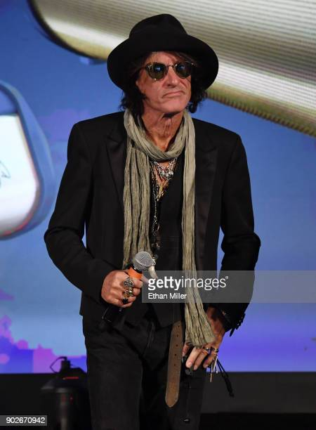 Aerosmith guitarist Joe Perry speaks during a Monster Inc press event for CES 2018 at the Mandalay Bay Convention Center on January 8 2018 in Las...
