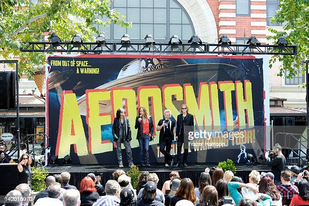 Aerosmith Joe Perry Steven Tyler Joey Kramer and Tom Hamilton announce their 'The Global Warming' Tour at The Grove on March 28 2012 in Los Angeles...