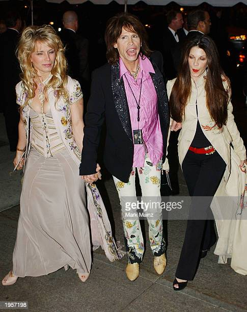 Aerosmith lead singer Steven Tyler arrives with his wife Teresa Barrick and their daughter for the 'Goddess Costume Institute Benefit Gala' at the...