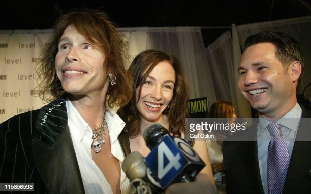 Aerosmith lead singer Steven Tyler left Boston Common Magazine editor Kim Atkinson center and Niche Media CEO Jason Binn right brings luxury and...