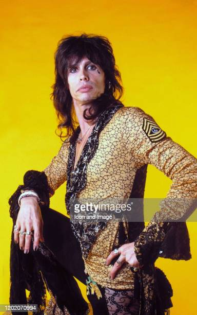 Aerosmith lead singer Steven Tyler poses for a studio portrait during the Done With Mirrors Tour on May 22 at the Joe Louis Arena in Detroit Michigan
