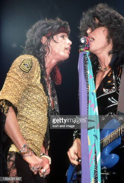Aerosmith lead singer Steven Tyler with lead guitarist Joe Perry during the band's Permanent Vacation Tour on December 5 at the Joe Louis Arena in...