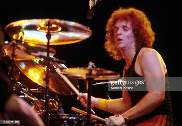 Aerosmith perform on stage New York April 1979 Joey Kramer