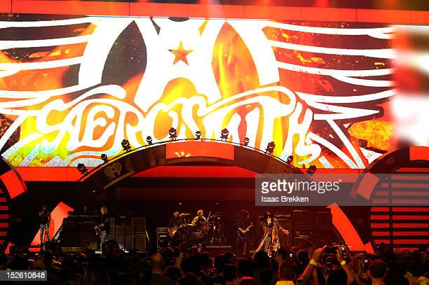Aerosmith performs onstage during the 2012 iHeartRadio Music Festival at the MGM Grand Garden Arena on September 22 2012 in Las Vegas Nevada
