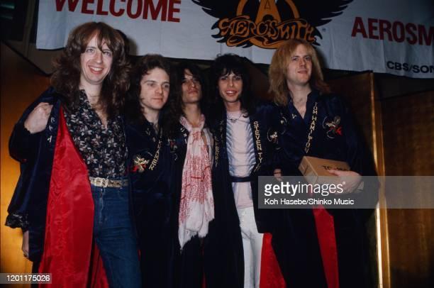 Aerosmith reception party at the Takanawa Hotel in Tokyo Japan 31st January 1977 Brad Whitford Joey Kramer Joe Perry Tom Hamiton Steven Tyler