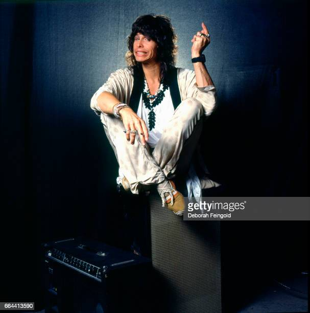 Singer songwriter musician in band Aerosmith poses for a portrait in September 1985 in Boston Massachusetts