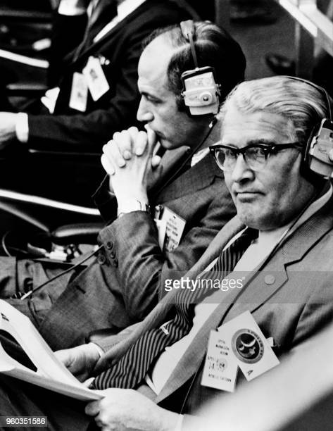 US aerospace engineer Wernher von Braun and NASA administrator George Low attend the launch of Apollo 14 on January 31 1971 at the Kennedy Space...