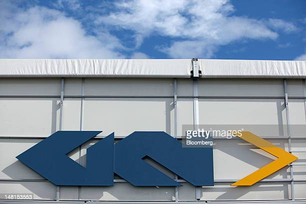 Aerospace sign sits outside GKN Plc's stand on the third day of the Farnborough International Air Show in Farnborough UK on Wednesday July 11 2012...