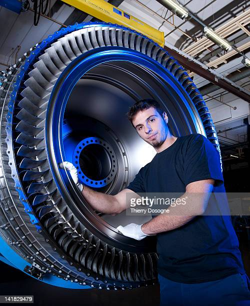 Aerospace technician in factory