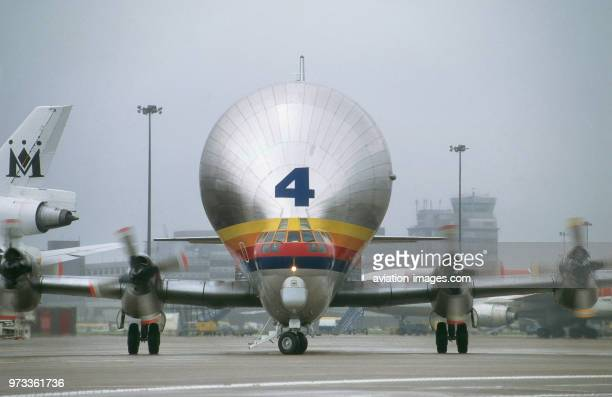 AeroSpacelines 377SGT Super Guppy Skylink number 4 taxiing in to collect an Airbus A320 wingset on it's last flight to the UK before retirement