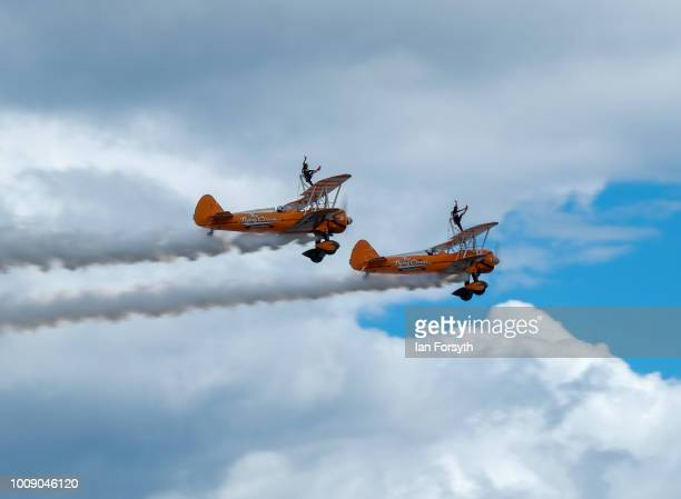 Aerosuperbatics Wingwalkers perform during the 30th Sunderland International Air show on July 28 2018 in Sunderland England Held over three days on...