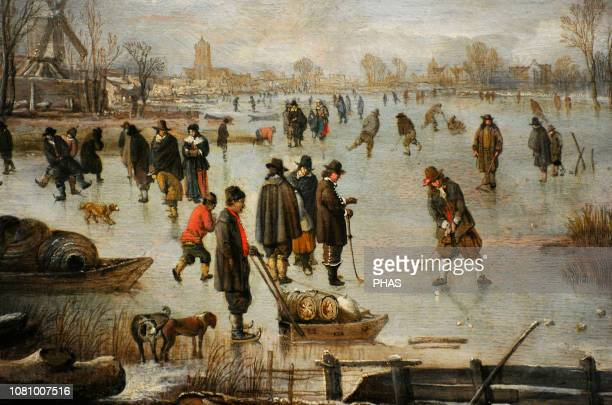 Aert van der Neer Dutch Golden Age painter Winter landscape with distractions ont the ice ca 1655 WallrafRichartz Museum Cologne Germany