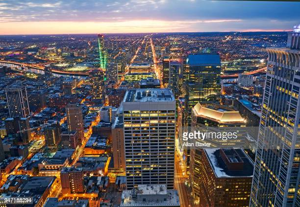 Aertial view of the financial district of downtown Philadelphia illuminated at night