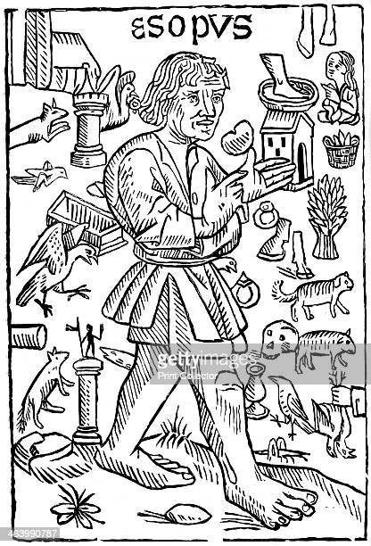 Aesop 15th century Frontispiece to Fables of Aesop printed by William Caxton An illustration from A Short History of the English People by John...