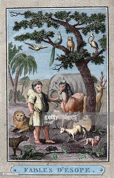 Aesop Ancient Greek fabulist credited with a number of fables now collectively known as Aesop's Fables Engraving of french edition Paris 1801 Colored