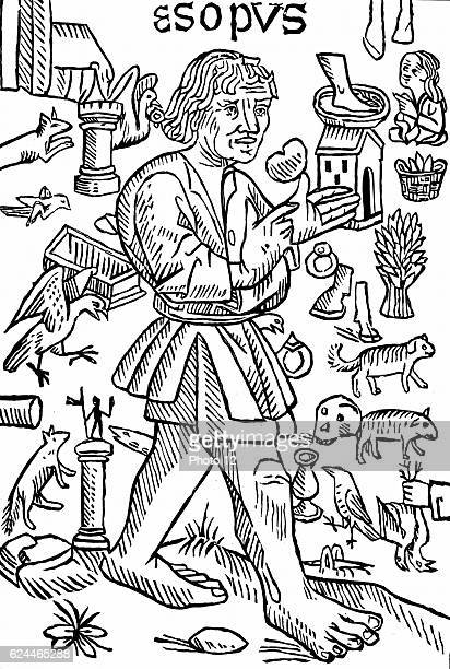 Aesop probably legendary Greek fabulist according to Herodotus he lived 6th century BC Frontispiece of William Caxton's Fables of Aesop London c1480...