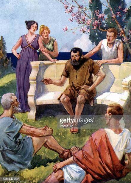Aesop - probably legendary Greek fabulist, according to Herodotus, he lived 6th century BC. Aesop holding his audience enthralled. Artist's...