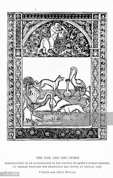 Aesop 's fables the Fox and the Stork Illustration after 1485 edition printed in Naples by German printers for Francesco del Tuppo Reproduction Aesop...