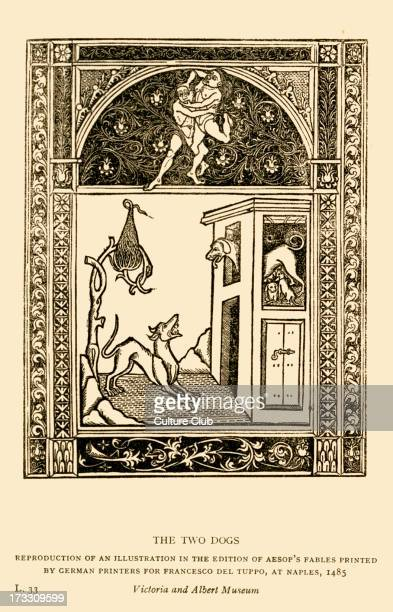 Aesop 's fables the Two Dogs Illustration after 1485 edition printed in Naples by German printers for Francesco del Tuppo Reproduction Aesop Greek...