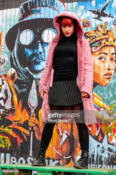 Aesthetic and Rock's singer Raquel Morales is wearing a Mina Miyuta black jacket with sequins Stradivarius pashmine Pull and Bear sweater Pull and...