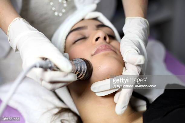 Aesthetic Doctor Applies Radio Frequency Face Treatment