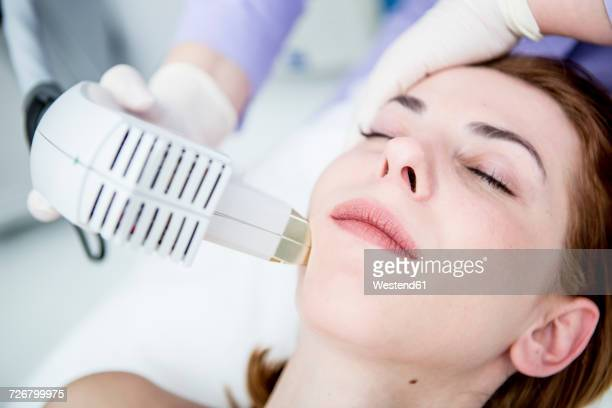 aesthetic surgery, infrared light treatment, photolifting - infrared lamp stock photos and pictures