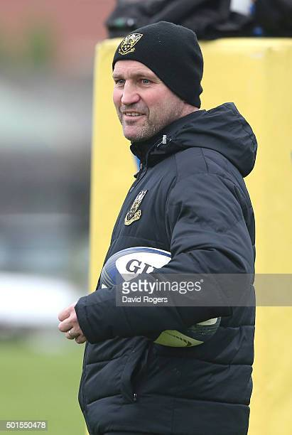 Aex King the Northampton backs coach looks on during the Northampton Saints training session held at Franklin's Gardens on December 15 2015 in...