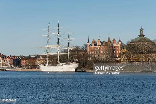 af chapman moored at skeppsholmen, stockholm, sweden - stockholm stock pictures, royalty-free photos & images