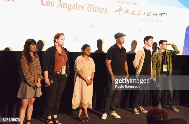 Afagh Irandoost Bronwyn Maloney Karishma Dube Marshall Tyler Matt Chute and Matt ChuteToby Louie speak onstage at Shorts Program 1 during the 2017...