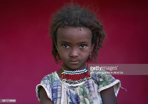 Afar tribe girl with a beaded necklace afar region semera Ethiopia on February 29 2016 in Semera Ethiopia