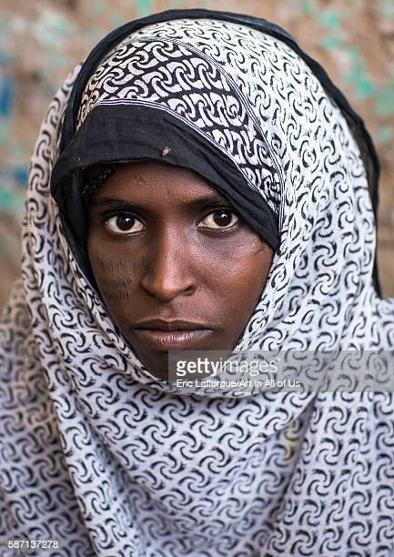 Afar tribe woman with scarifications on her face afar region assayta Ethiopia on March 1 2016 in Assayta Ethiopia