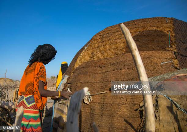 Afar tribe women building a hut on January 14 2017 in Mile Ethiopia