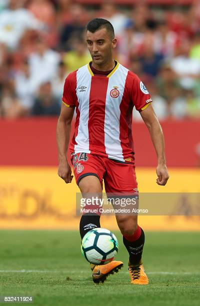 AFarid Boulaya of Girona in action during the preseason friendly match between Girona and Manchester City at Municipal de Montilivi Stadium on August...