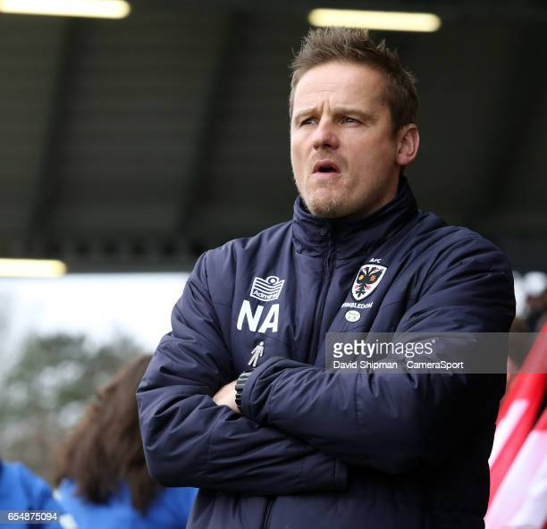 AFCWimbledon manager Neal Ardley during the Sky Bet League One match between Fleetwood Town and AFC Wimbledon at Highbury Stadium on March 18 2017 in...