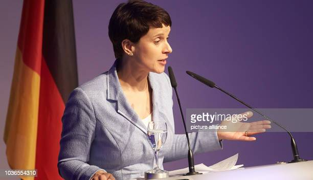 AfD chairwoman Frauke Petry speaks at the start of the congress of the rightwing populist ENF group in the European Parliament in Koblenz Germany 21...
