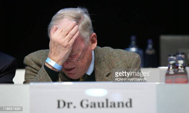 AfD Co-Leader Alexander Gauland reacts during the congress of the Alternative for Germany far-right party on November 30, 2019 in Braunschweig, in...