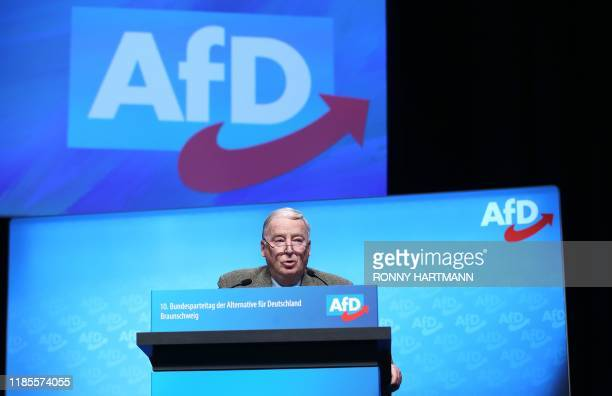 AfD Co-Leader Alexander Gauland speaks on stage during the congress of the Alternative for Germany far-right party on November 30, 2019 in...