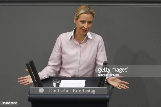 AfD Far Right Party Chairwoman Alice Weidel addresses the Bundestag during debates over the federal budget on May 16 2018 in Berlin Germany Today's...