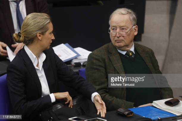 AfD Right Party leader Alexander Gauland and Alice Weidel arrive ahead of chancellor's government declaration at the Bundestag before traveling to...