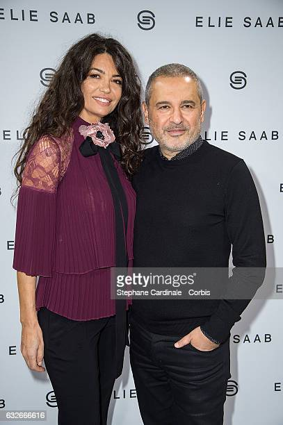 Afef Jnifen and Fashion designer Elie Saab pose Backstage after the Elie Saab Spring Summer 2017 show as part of Paris Fashion Week on January 25...