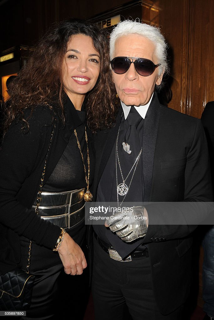 Afef Jnifen and Karl Lagerfeld attend Vogue Party at Hotel De Crillon in Paris.