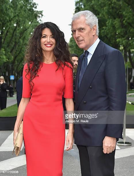 Afef Jnifen and Marco Tronchetti Provera attend the Giorgio Armani 40th Anniversary Silos Opening And Cocktail Reception on April 30 2015 in Milan...