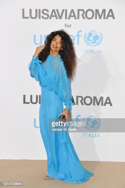 Afef Jnifen attends a photocall for the Unicef Summer Gala Presented by Luisaviaroma at Villa Violina on August 10 2018 in Porto Cervo Italy
