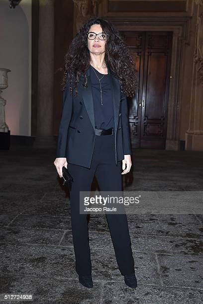 Afef Jnifen attends Vogue Cocktail Party honoring photographer Mario Testino on February 27 2016 in Milan Italy