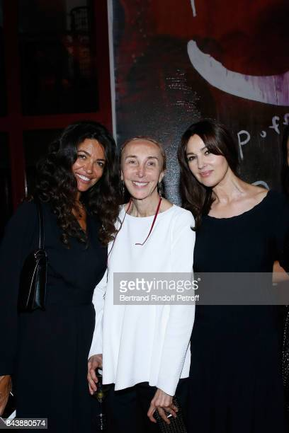 Afef Jnifen Carla Sozzani and Monica Bellucci attend the 'Richard Wentworth a la Maison Alaia' Exhibition Opening at Azzedine Alaia Gallery on...