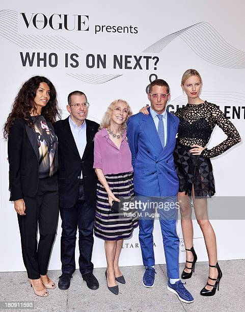 Afef Jnifen Jonathan Newhouse Franca Sozzani Lapo Elkann and Karolina Kurkova attend 'Who is On Next Vogue Talents' event at Palazzo Morando on...